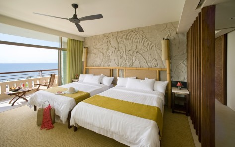 remarkable-ideas-bedroom-interior-room-designs-with-brown-bamboo-headboard-bed-along-double-white-bed-and-white-pillow-along-black-ceiling-fan-plus-open-window-with-green-cu